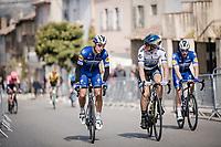 neighbours (in Monaco) Philippe GILBERT (BEL/Deceuninck-Quick Step) & Matteo TRENTIN (ITA/Mitchelton-Scott) chatting on their way to the start<br /> <br /> Stage 6: Peynier to Brignoles (176km)<br /> 77th Paris - Nice 2019 (2.UWT)<br /> <br /> ©kramon