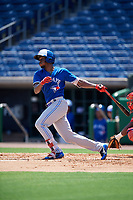 Toronto Blue Jays Luis De Los Santos (1) at bat during an Instructional League game against the Philadelphia Phillies on September 17, 2019 at Spectrum Field in Clearwater, Florida.  (Mike Janes/Four Seam Images)