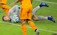 CARSON, CA - OCTOBER 28: Marko Maric  #1 of the Houston Dynamo with a save during a game between Houston Dynamo and Los Angeles FC at Banc of California Stadium on October 28, 2020 in Carson, California.