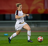 Amy Rodriguez. The USWNT defeated New Zealand, 4-0, during the 2008 Beijing Olympics in Shenyang, China.  With the win, the USWNT won group G and advanced to the semifinals.