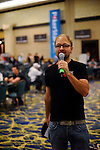"""PS Team Pro Daniel Negreanu welcomes the players and says, """"Shuffle Up and Deal."""""""