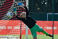 Standard goalkeeper Sofie Tans(12) pictured in action before a women soccer match between Standard Femina de Liege and Eendracht Aalst dames, Saturday 25 September 2021 in Liege, in the 1/16 th final of the Belgian Womens Cup 2021-2022. PHOTO BERNARD GILLET