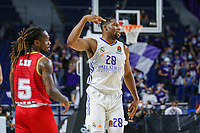 13th October 2021; Wizink Center; Madrid, Spain; Turkish Airlines Euroleague Basketball; game 3; Real Madrid versus AS Monaco; Guerschon Yabusele (Real Madrid Baloncesto) celebrating scoring three points