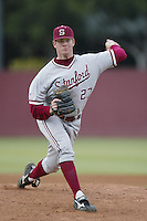 Tim Cunningham of the Stanford Cardinal pitches during a 2002 season NCAA game against the Southern California Trojans at Dedeaux Field in Los Angeles, California. (Larry Goren/Four Seam Images)