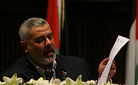 "Hamas leader Ismail Haniyeh, prime minister of the Palestinian government dismissed by President Mahmoud Abbas, gives a speech in Gaza June 24, 2007. Haniyeh dismissed Israel's decision on Sunday to release Palestinian tax funds as bribery and said ""resistance"" was the only way forward .""photo by Fady Adwan"""