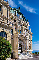 Exterior detail of the Salle Garnier, Opéra de Monte-Carlo, Monaco.