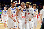 "Real Madrid's player Jaycee Carroll, Gustavo Ayon, Luka Doncic, Jeffery Taylor and Andres ""El Chapu"" Nocioni during match of Turkish Airlines Euroleague at Barclaycard Center in Madrid. November 24, Spain. 2016. (ALTERPHOTOS/BorjaB.Hojas)"