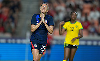 HOUSTON, TX - JUNE 13: Christen Press #23 of the United States of the United States narrowly misses a goal during a game between Jamaica and USWNT at BBVA Stadium on June 13, 2021 in Houston, Texas.