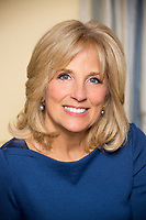 WASHINGTON - FEBRUARY 2013: Jill Biden poses for the official portrait in the White House in Washington, DC.<br /> <br /> People:  Jill Biden