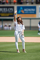Miss Florida Taylor Tyson waves to the crowd before throwing out the ceremonial first pitch of the Detroit Tigers Grapefruit League Spring Training game against the New York Yankees on February 27, 2019 at Publix Field at Joker Marchant Stadium in Lakeland, Florida.  Yankees defeated the Tigers 10-4 as the game was called after the sixth inning due to rain.  (Mike Janes/Four Seam Images)