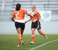 Macky Wingo (17) of the Charlotte Lady Eagles celebrates her goal with teammate Gloria Douglas (7) during the game at the Maryland SoccerPlex in Boyds, Maryland.  The Charlotte Lady eagles defeated the Long Island Rough Riders, 4-0, to advance to the W-League Eastern Conference Championship.
