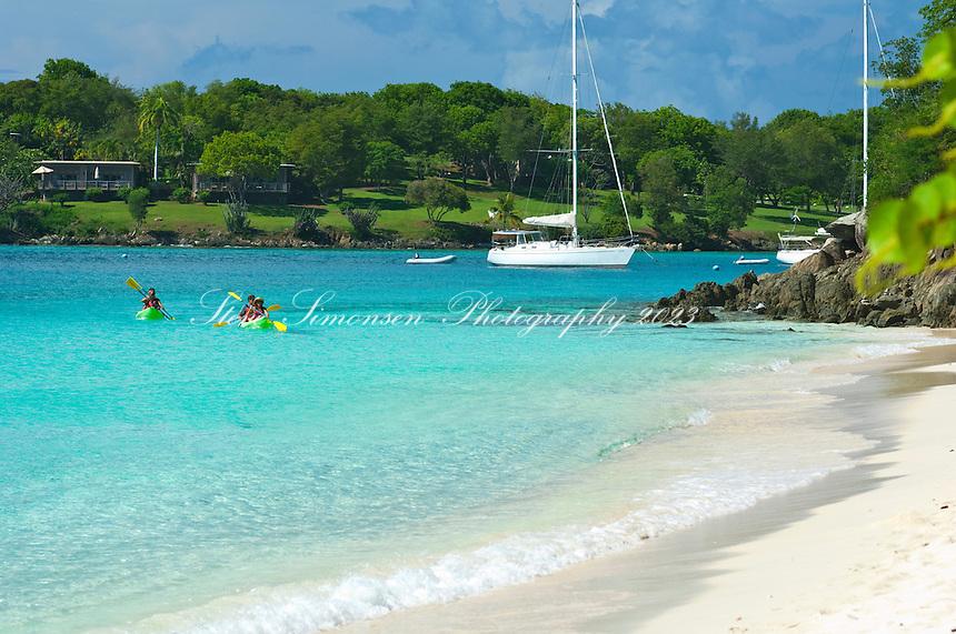 Kayakers with VI Eco Tours at Honeymoon Beach.St. John.US Virgin Islands