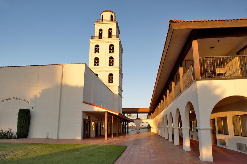 Mission de Oro showing bell tower and plaza. Santa Nella. California