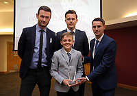 Pictured: Under 11 winner Iwan Batcup (C) Saturday 27 May 2017<br /> Re: Swansea City FC Academy Awards Evening at the Liberty Stadium, Wales, UK