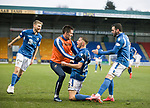 St Johnstone v Livingston…..07.03.20   McDiarmid Park  SPFL<br />Callum Hendry celebrates his goal with David Wotherspoon, Callum Booth and Drey Wright<br />Picture by Graeme Hart.<br />Copyright Perthshire Picture Agency<br />Tel: 01738 623350  Mobile: 07990 594431