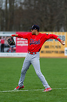 Peoria Chiefs outfielder Dylan Carlson (5) warms up prior to a Midwest League game against the Beloit Snappers on April 15, 2017 at Pohlman Field in Beloit, Wisconsin.  Beloit defeated Peoria 12-0. (Brad Krause/Four Seam Images)