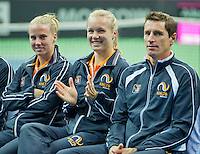 Moskou, Russia, Februari 4, 2016,  Fed Cup Russia-Netherlands,  Draw Ceremony, ltr:  Dutch player Richel Hogenkamp, Kiki Bertens and Captain Paul Haarhuis <br /> Photo: Tennisimages/Henk Koster