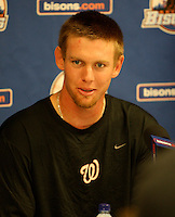 """Syracuse Chiefs starting pitcher Stephen Strasburg answers questions in a press conference after a game vs. the Buffalo Bisons at Coca-Cola Field in Buffalo, New York;  Thursday June 3, 2010.  Syracuse defeated Buffalo by the score of 7-1 as Strasburg picked up his fourth win of the season in """"AAA"""".  Photo By Mike Janes/Four Seam Images"""