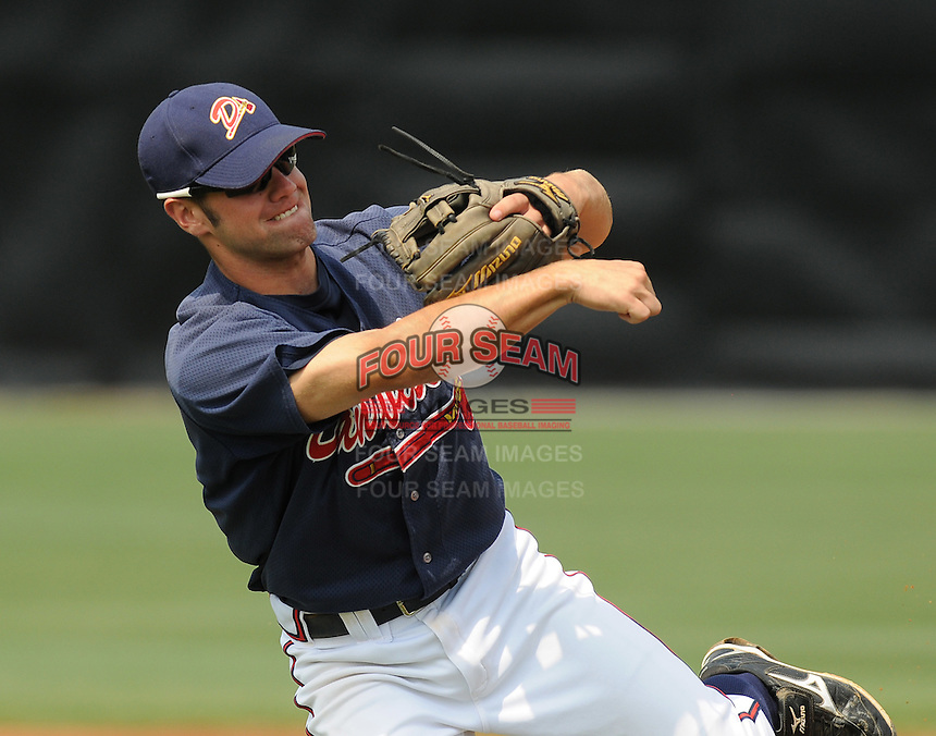 July 15, 2009: Infielder Travis Adair (5) of the Danville Braves, rookie Appalachian League affiliate of the Atlanta Braves, before a game at Dan Daniel Memorial Park in Danville, Va. Photo by:  Tom Priddy/Four Seam Images