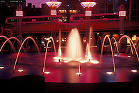 AJ4067, Underground Atlanta, Atlanta, Georgia, Fountain illuminated at night at Underground Atlanta in downtown Atlanta in the state of Georgia.
