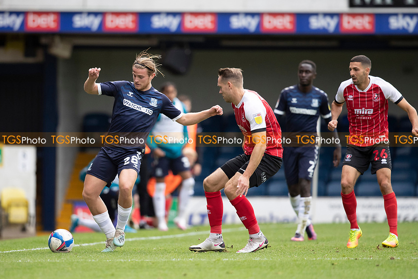 Chris Hussey, Cheltenham Town pushes Kyle Taylor, Southend United out wide during Southend United vs Cheltenham Town, Sky Bet EFL League 2 Football at Roots Hall on 17th October 2020