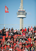 11 April 2009:  Toronto FC fans brave another cold day during an MLS game at BMO Field in Toronto between FC Dallas and Toronto FC. The game ended in a 1-1 draw.