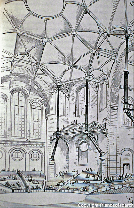 """Eugene Viollet-le-Duc, a French architect and theorist, was famous for his interpretive """"restorations"""" of medieval buildings. Design for a concert hall, dated 1864, expressing Gothic principles in modern materials; brick, stone and cast iron."""