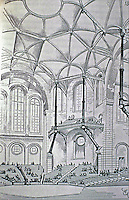 "Eugene Viollet-le-Duc, a French architect and theorist, was famous for his interpretive ""restorations"" of medieval buildings. Design for a concert hall, dated 1864, expressing Gothic principles in modern materials; brick, stone and cast iron."
