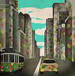 Illustrative image of vehicles and buildings with leaves design representing eco city