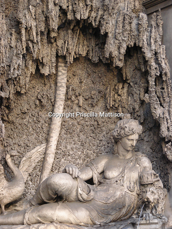 Rome, Italy - January 27, 2007:  The Goddess Juno fountain by Domenico Fontana is one of the Quattro Fontane (four fountains) at an intersection in Rome.
