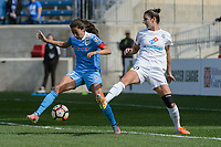 Bridgeview, IL - Saturday April 22, 2017: Christen Press, Yael Averbuch during a regular season National Women's Soccer League (NWSL) match between the Chicago Red Stars and FC Kansas City at Toyota Park.