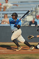 Derek Farley (40) (SouthLake Christian HS) of the Dry Pond Blue Sox follows through on his swing against the Mooresville Spinners at Moor Park on July 2, 2020 in Mooresville, NC.  The Spinners defeated the Blue Sox 9-4. (Brian Westerholt/Four Seam Images)