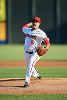 Harrisburg Senators starting pitcher Jaron Long (5) delivers a pitch during a game against the Bowie Baysox on May 16, 2017 at FNB Field in Harrisburg, Pennsylvania.  Bowie defeated Harrisburg 6-4.  (Mike Janes/Four Seam Images)