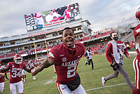 Image, Saturday, October 17, 2020 before the start of Arkansas' 33-21 win over Ole Miss at Donald W. Reynolds Razorback Stadium in Fayetteville. Check out nwaonline.com/201018Daily/ for today's photo gallery. <br /> (NWA Democrat-Gazette/Charlie Kaijo)