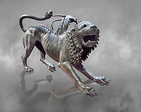 """Etruscan bronce statue of the mythical Chimera known as the  """"Chimera of Arezzo"""" from the St Lorentino Gate of Arezzo, made end of 5th - early 4th century B.C, inv no 1,  National Archaeological Museum Florence, Italy , grey art background"""