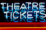 Theatre Tickets sign. Illuminated neon signs. West End. Central London UK