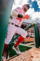 20 May 2018: Washington Nationals outfielder Bryce Harper steps out of the dugout prior to a game against the Los Angeles Dodgers at Nationals Park in Washington, DC. The Dodgers defeated the Nationals 7-2, sweeping their 3-game series. Mandatory Credit: Ed Wolfstein Photo *** RAW (NEF) Image File Available ***