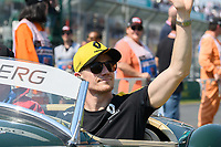 March 17, 2019: Nico Hulkenberg (DEU) #27 from the Renault F1 Team waves to the crowd during the drivers parade prior to the start of the 2019 Australian Formula One Grand Prix at Albert Park, Melbourne, Australia. Photo Sydney Low