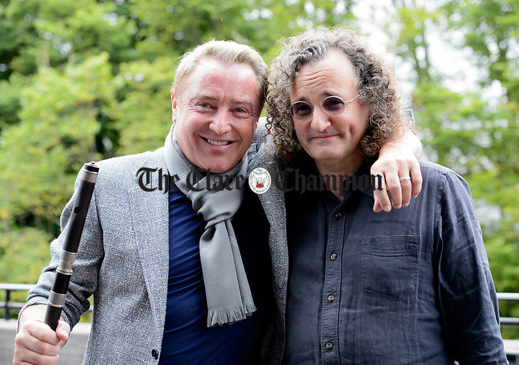 Michael Flatley with Martin Hayes following the official opening of the All-Ireland Fleadh 2017 in Ennis. Photograph by John Kelly.
