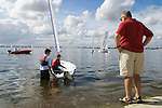 Datchet Water Sailing Club, father son, boy is learning to sail. 2007