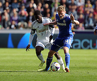 Sunday, 13 April 2014<br /> Pictured L-R: Nathan Dyer of Swansea challenging Andre Schurrle of Chelsea <br /> Re: Barclay's Premier League, Swansea City FC v Chelsea at the Liberty Stadium, south Wales,