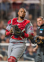 15 August 2017: Los Angeles Angels catcher Martin Maldonado makes a 4th inning play against the Washington Nationals at Nationals Park in Washington, DC. The Nationals defeated the Angels 3-1 in the first game of their 2-game series. Mandatory Credit: Ed Wolfstein Photo *** RAW (NEF) Image File Available ***