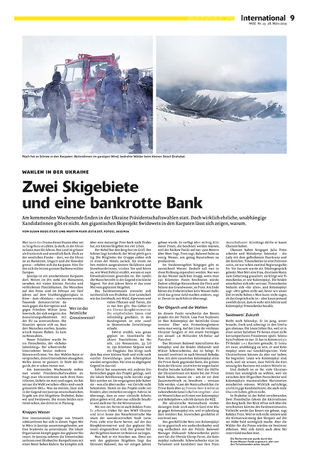 Die Wochenzeitung WOZ (Swiss weekly) on skiing resorts pushed by oligarchs, Carpathian Ukraine, 03.2019.<br />