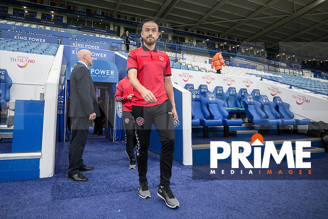 Fleetwood Town players arrive for the English League Cup Round 2 Group North match between Leicester City and Fleetwood Town at the King Power Stadium, Leicester, England on 28 August 2018. Photo by David Horn.