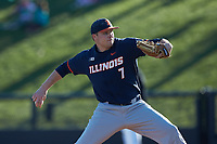 Illinois Fighting Illini starting pitcher TyWeber (7) in action against the Coastal Carolina Chanticleers at Springs Brooks Stadium on February 22, 2020 in Conway, South Carolina. The Fighting Illini defeated the Chanticleers 5-2. (Brian Westerholt/Four Seam Images)