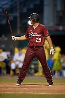 Macon Bacon Carson Crowe (29) bats during a Coastal Plain League game against the Savannah Bananas on July 15, 2020 at Grayson Stadium in Savannah, Georgia.  (Mike Janes/Four Seam Images)