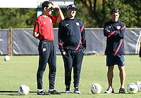 MIAMI, FL - DECEMBER 21, 2012:  Coaches Javier Perez, Brian Bliss and Tab Ramos of the USA MNT U20 during a closed scrimmage with the Venezuela U20 team, on Friday, December 21, 2012, At the FIU soccer field in Miami.  USA won 4-0.