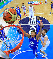 French national basketball team players Noah Joakim jumps for the ball during final Eurobasket 2011 game between Spain and France in Kaunas, Lithuania, Sunday, September 18, 2011. (photo: Pedja Milosavljevic)