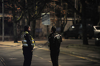 Wednesday 11 January 2017<br /> Pictured: Police at the scene<br /> Re: A World War One bomb which was taken into a Neath Port Talbot pub has been removed and people allowed back home.<br /> South Wales Police evacuated residents in Herbert Street, Pontardawe, at about 19:30 GMT on Wednesday after the device was brought into the Pink Geranium pub before being taken outside.<br /> The Army's ordnance disposal team was called to remove it.