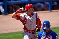 St. Louis Cardinals catcher Andrew Knizner (7) during a Major League Spring Training game against the New York Mets on March 19, 2021 at Clover Park in St. Lucie, Florida.  (Mike Janes/Four Seam Images)